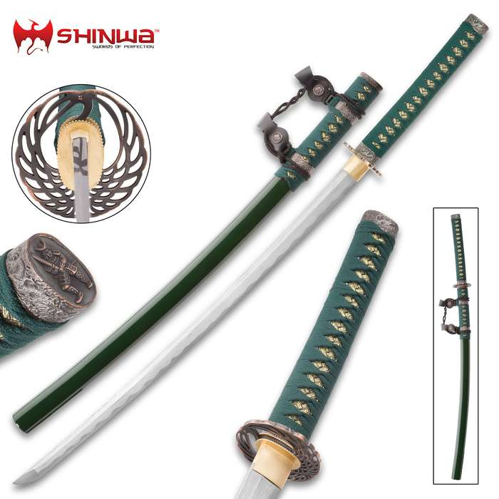 Shinwa Genesis Handmade Tachi / Samurai Sword - Hand Forged Damascus Steel - Historical Katana Predecessor - Traditional Wooden Saya - Functional, Battle Ready, Full Tang