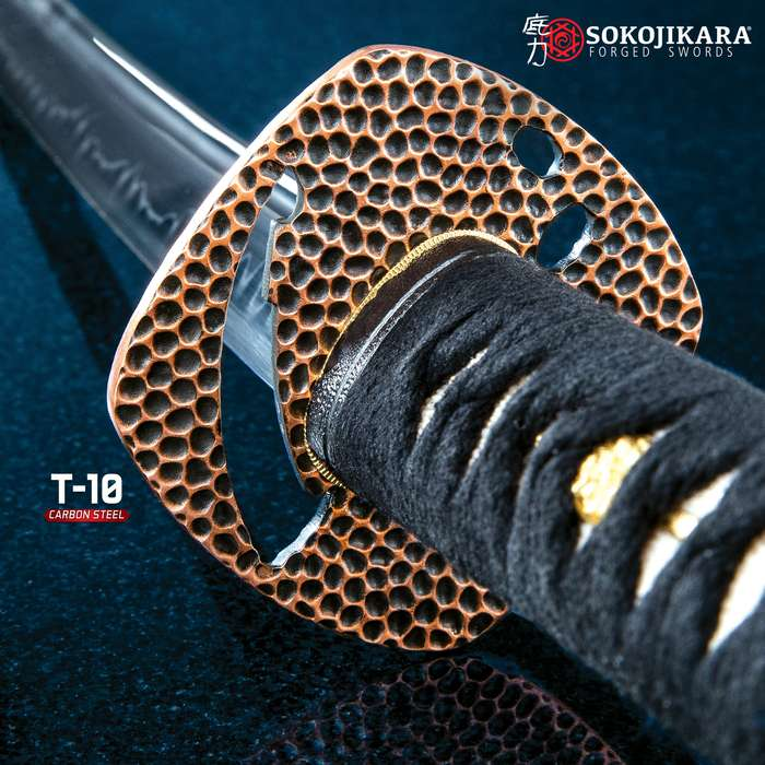 Sokojikara Night Thief Hand-Forged Katana - T10 High Carbon Steel Clay Tempered Blade, Genuine Ray Skin, Copper And Brass Tsuba, Brass Pommel - Length 40 9/10""