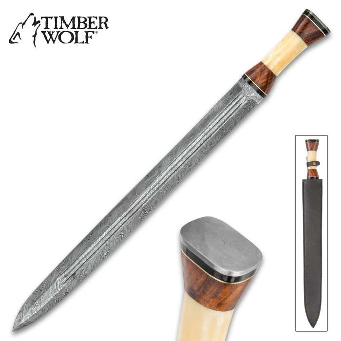 Timber Wolf Anthem Handmade Double Edged Sword - Hand Forged Damascus Steel - Walnut, Camel Bone - Gladius Style Profile - Genuine Leather Belt Scabbard - 30""