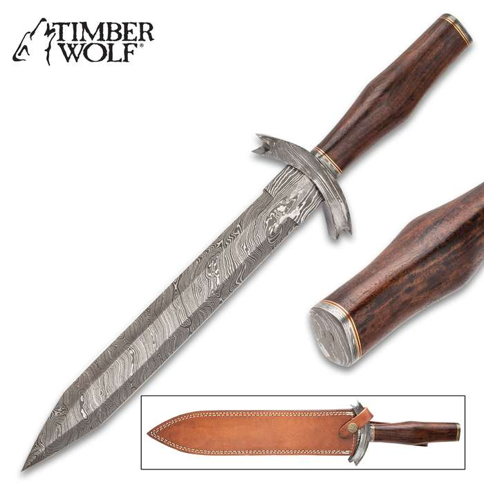 Timber Wolf Myrmidon Short Sword With Sheath - Damascus Steel Blade, Wooden Handle, Damascus Guard, Brass Spacers - Length 18 1/4""