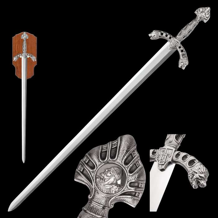 Display Sword with Wooden Plaque Mount - Mirror Polished Stainless Steel, Display Edge - Middle Ages Medieval Longsword; Knight; King Royal Insignia; Lion Head Crossguard - 46""