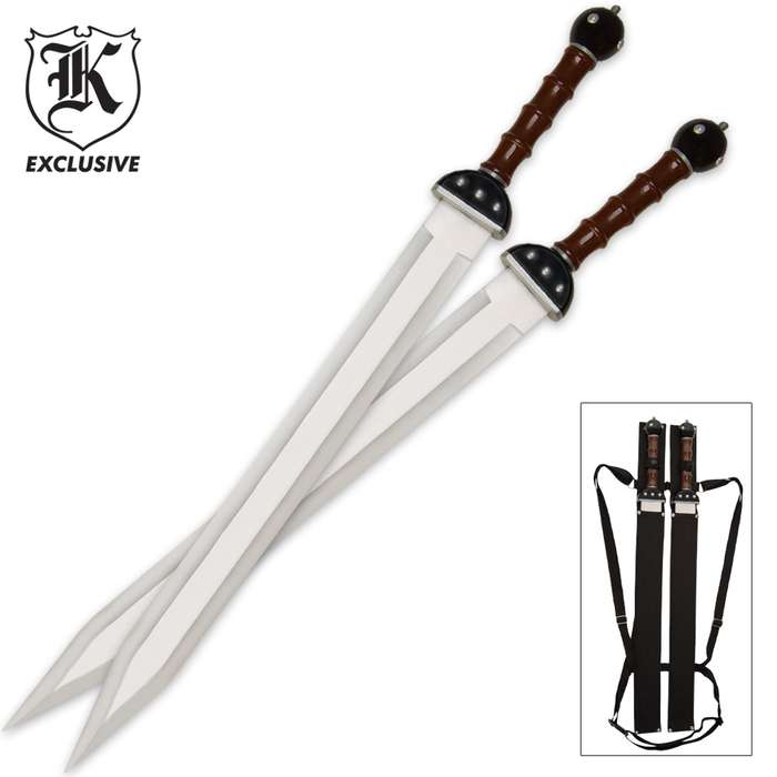 Gladiator Warrior Twin Sword Set with Double Shoulder Sheath