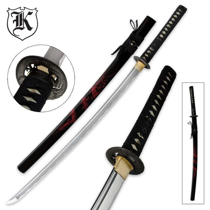 Fiery Red Dragon Katana Sword