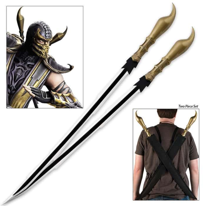 Scorpion Stinger Twin Sword Set With Shoulder Harness Sheath