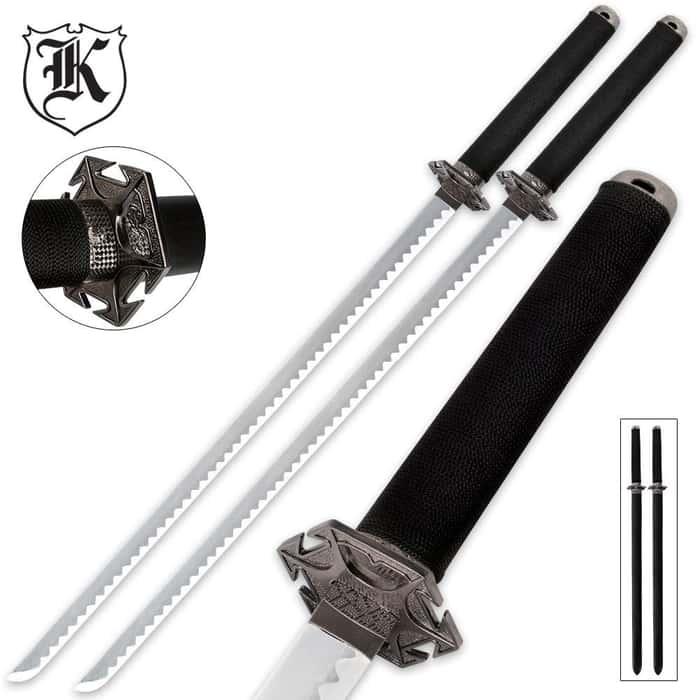 Modern Ninja Two Piece Fantasy Sword Set With Harness