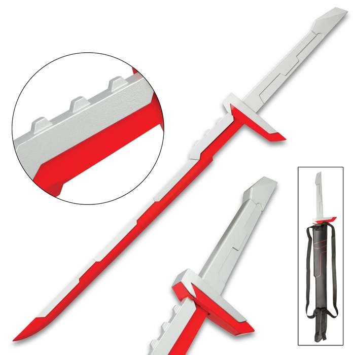 """League Of Legends Red And Silver Sword And Sheath - Stainless Steel Two-Toned Blade, Metal And Plastic Handle - 39"""" Length"""