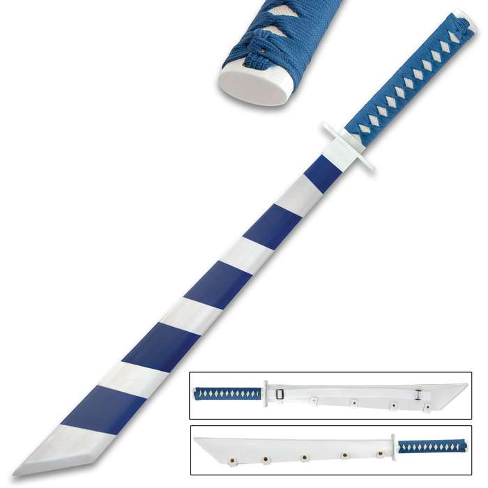 Dark Blue Stripes Gaming Sword With Sheath - Carbon Steel Blade, Baked Finish, Cord-Wrapped Handle - Length 33""