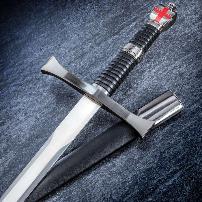Templar Master Assassin Sword With Scabbard - Stainless Steel Blade, Metal Alloy and TPU Handle And Accents - 39""