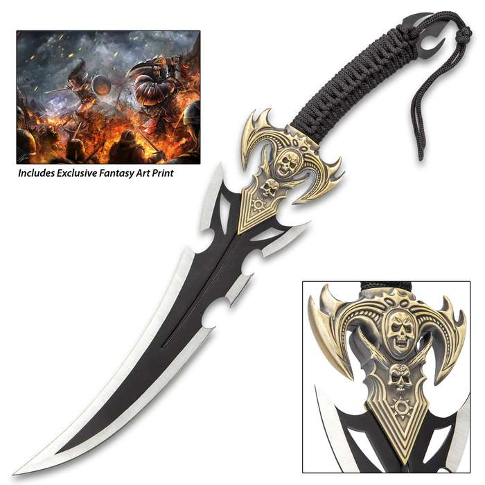 Skullator Fantasy Sword - Stainless Steel And Metal Alloy Construction, Cord-Wrapped Handle - Length 19""