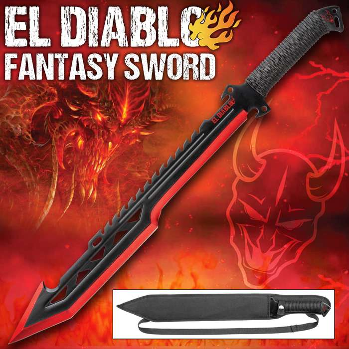 El Diablo Fantasy Sword With Sheath - One-Piece Stainless Steel Construction, Sawback Serrations, Cord-Wrapped Handle, Lanyard Hole - Length 25 3/4""