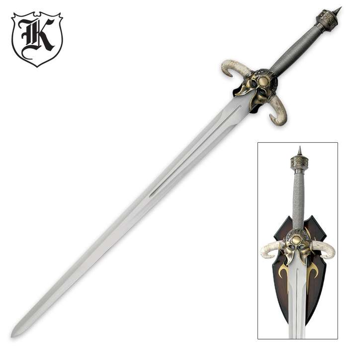 Historic Collectible Barbarian Warrior Sword With Display Plaque