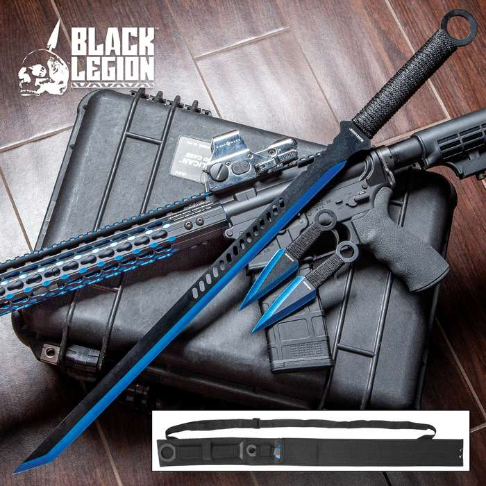 """Black Legion Three-Piece Blue Sword and Throwing Knife Set With Nylon Sheath - Rope-Wrapped Handles, Ring Pommels - 28"""" Sword - 6"""" Throwing Knives"""