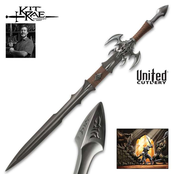 Kit Rae Exotath Special Edition Fantasy Sword - Swords of the Ancients Collection - JS Stainless Steel - Special Blade Etchings - Includes Original Fantasy Art Print - 44 3/4""