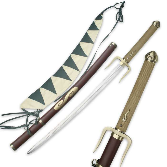 Anime Inspired Typhoon Swell Samurai Sword With Scabbard