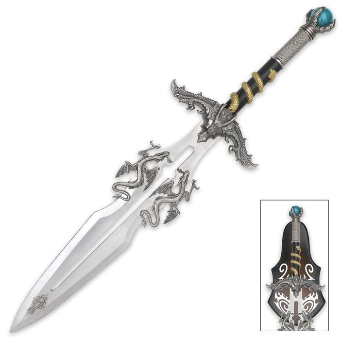 Dragons Lair Crystal Ball Fantasy Sword With Display Plaque