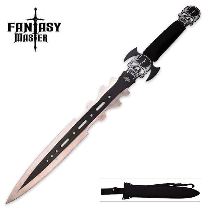 Fantasy Master Black NightGhoul Fantasy Short Sword with Nylon Shoulder Sheath