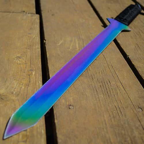 """26"""" RAINBOW NINJA Samurai Machete FULL TANG SWORD Tactical Katana w/ SHEATH"""