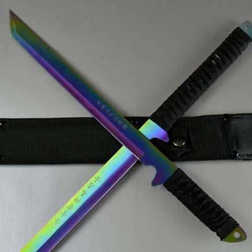"27"" & 18"" NINJA RAINBOW SWORD SET Samurai Machete COMBAT FANTASY KNIFE Sheath"