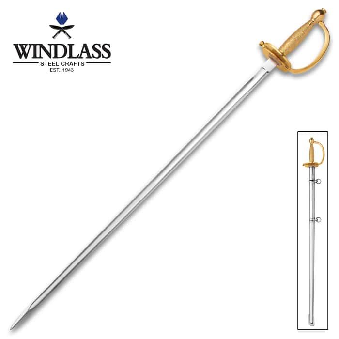 """1840 NCO Replica Sword - 1065 High Carbon Steel Blade, Cast Brass Hilt, Ribbed Grip - Length 31 3/4"""""""
