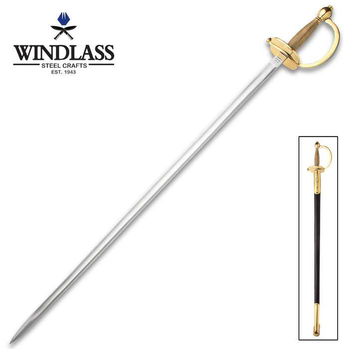 1840 Army NCO Sword With Leather Scabbard - Accurate Replica, Blade Has Fuller, Cast Brass Hilt, Ribbed Grip