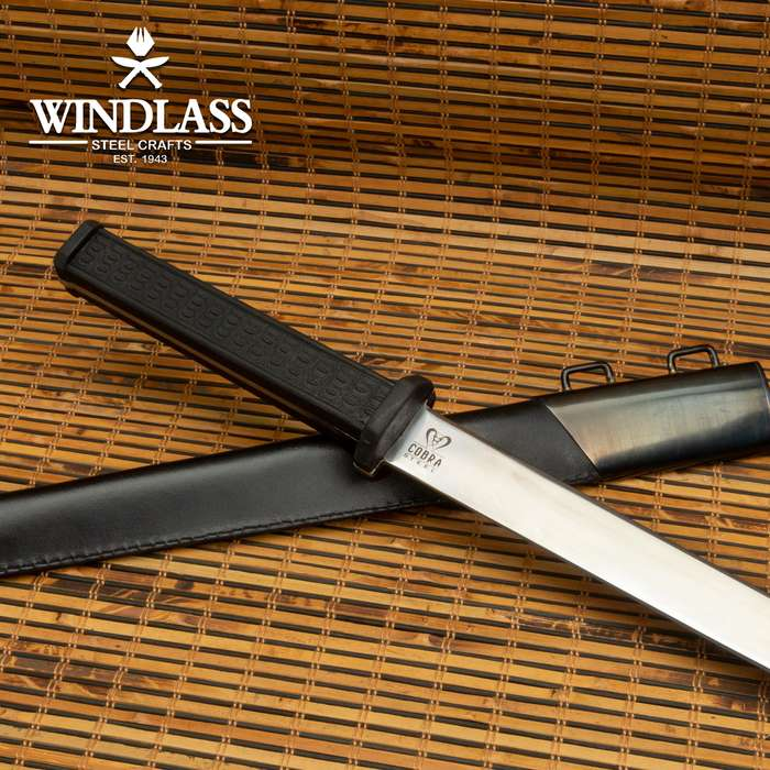 Cobra Steel Wakizashi Sword And Scabbard- High Grade Stainless Steel Blade, Rubber Handle Scales - Length 27 1/4""