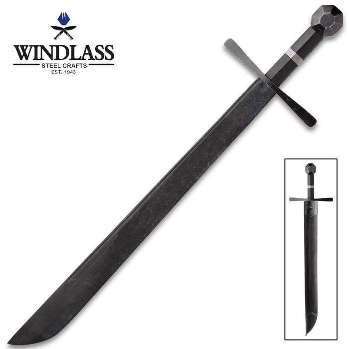 Battlecry Hattin Falchion Sword With Scabbard - 1065 High Carbon Steel Blade, Battle-Hardened Finish - Length 30 1/2""