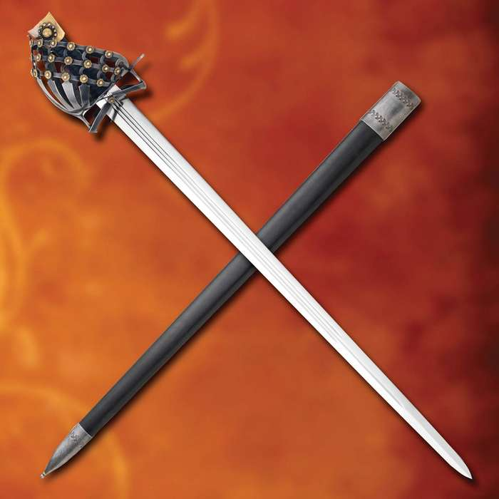 Mercenary Schiavona Sword And Scabbard - High Carbon Steel Blade, Leather-Wrapped Handle, Antique Brass Finished Pommel - Length 39 1/4""