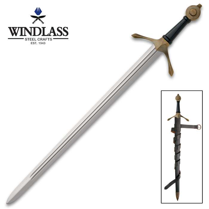 Bannockburn Sword With Scabbard - High Carbon Steel Blade, Double Fullers, Leather-Wrapped Handle, Solid Brass Fittings