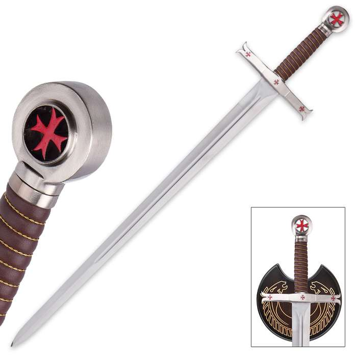 Crusader Knights Templar Sword With Wooden Display Plaque