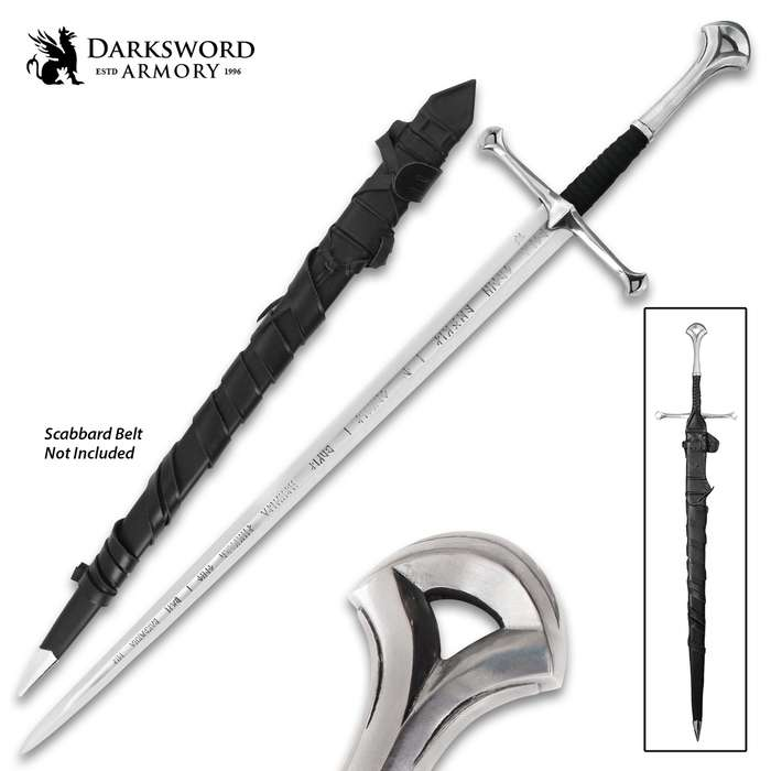 Darksword Armory Anduril Sword And Scabbard - 5160 High Carbon Steel Blade, Leather Grip, Battle Ready - Length 48""