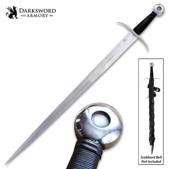Darksword Armory Medieval Arming Sword And Scabbard - 5160 High Carbon Steel Blade, Battle-Ready - Length 39""