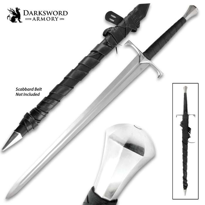 The Darksword Armory Viscount Sword is a hand-and-a-half battle ready sword that is conceptualized from various Medieval swords of the 14th and 15th Centuries