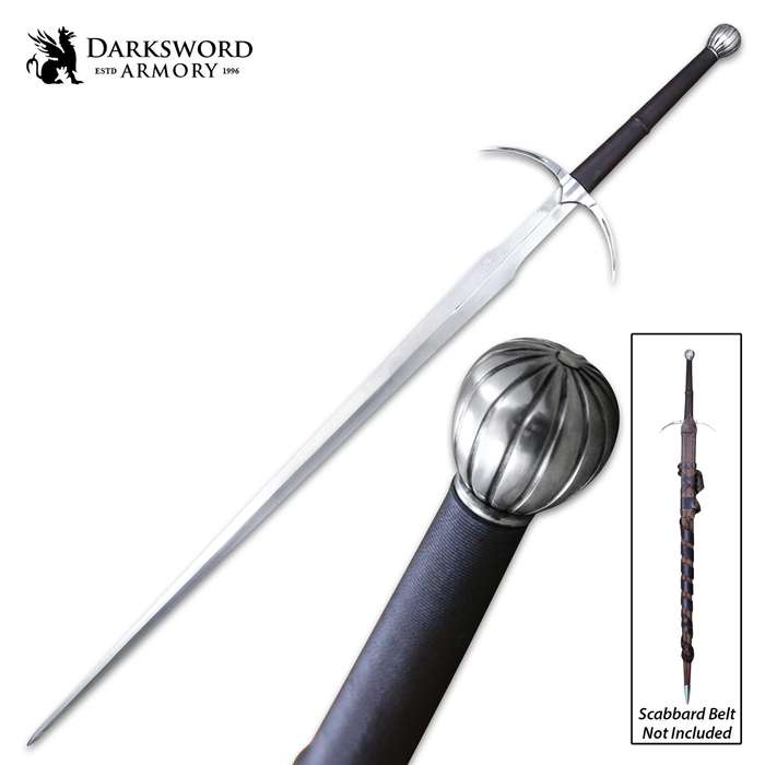 """Darksword Armory Two-Handed Danish Sword And Scabbard - 5160 High Carbon Steel Blade, Battle-Ready - Length 50"""""""