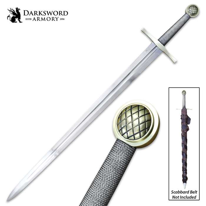 Darksword Armory Excalibur Sword And Scabbard - 5160 High Carbon Steel Blade, Battle-Ready - Length 42 1/2""