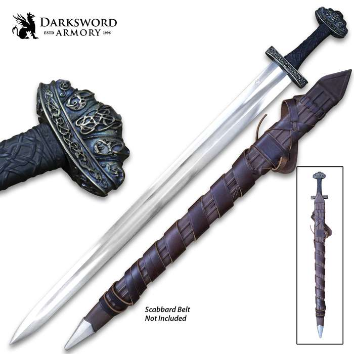 Darksword Armory Urnes Stave Viking Sword And Scabbard - 5160 High Carbon Steel Blade, Battle-Ready - Length 36""