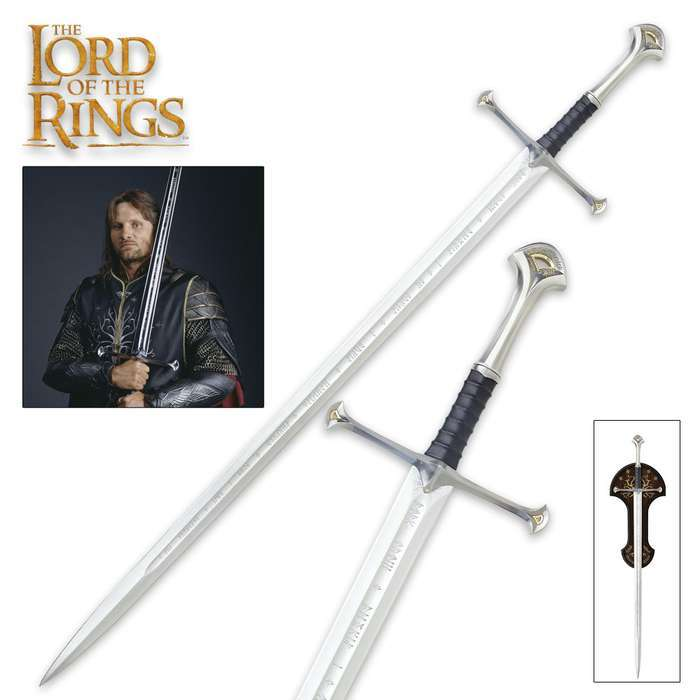 "United Cutlery Lord of the Rings LOTR Anduril Sword of King Elessar with Wall Plaque - 52 7/8"" Length, The Hobbit"