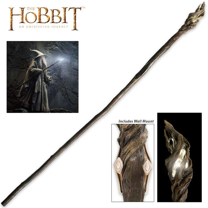 """The Hobbit Illuminated Staff of The Wizard Gandalf the Grey With Wall Mount - High Intensity LED Light - 73"""" Length"""