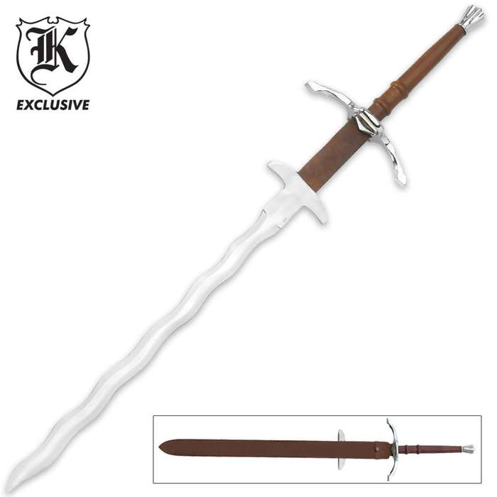 Two Handed Bastard Kriss Sword & Scabbard
