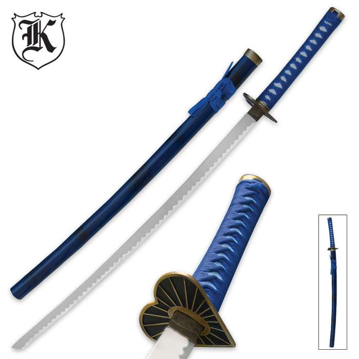 Black and Blue Heart Samurai Ninja Katana Sword