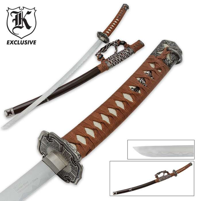 Sword Brown Cord Wrap Brown Scabbard