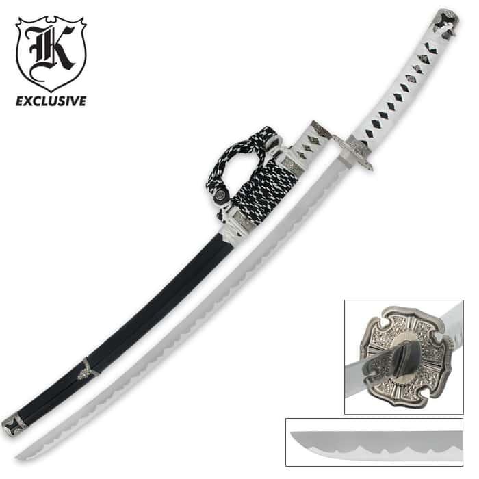 Imperial Warrior Black & White Katana Samurai Sword