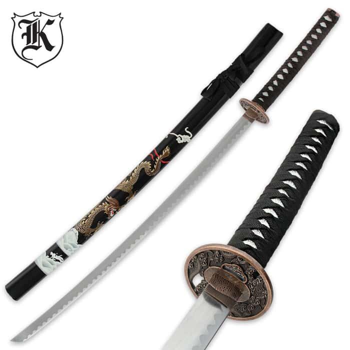 Black Flying Dragon Katana Sword and Scabbard
