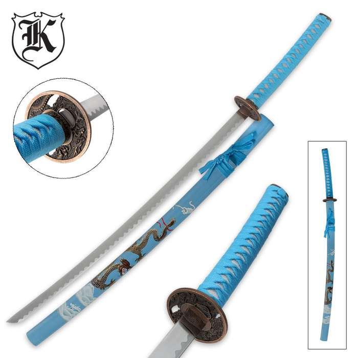 Blue Flying Dragon Katana Sword and Scabbard