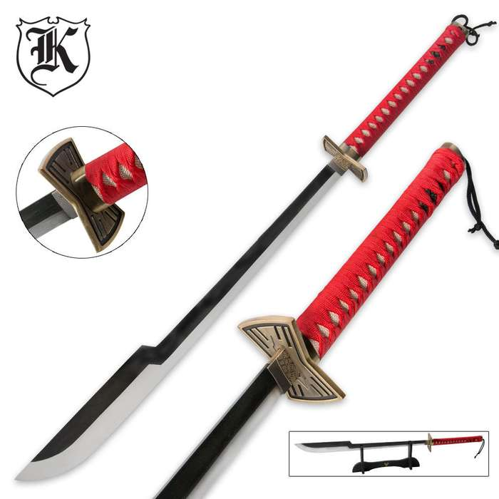 Heavenly Retribution Carbon Steel Katana Sword with Stand