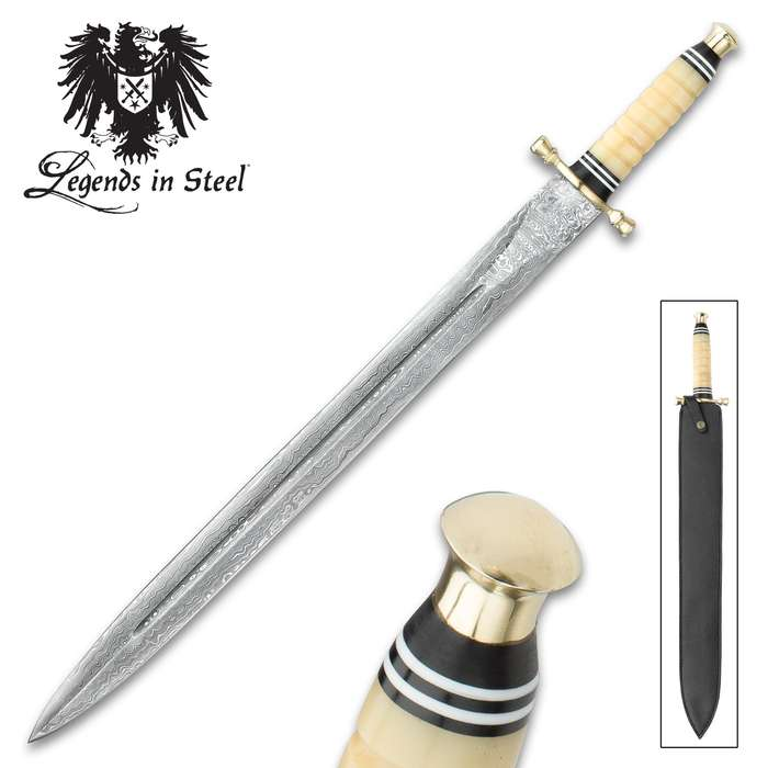 Legends In Steel Genuine Bone and Damascus Steel Sword
