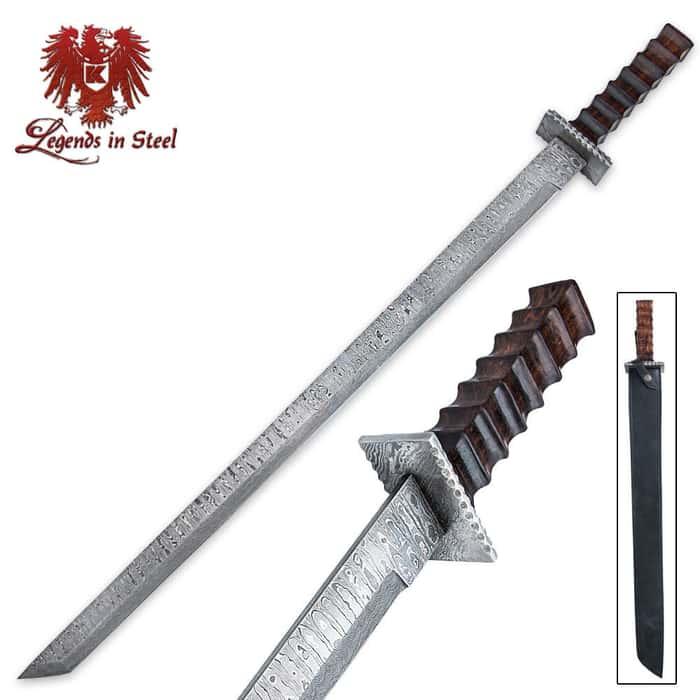 Legends In Steel Oriental Tanto Damascus Steel Sword