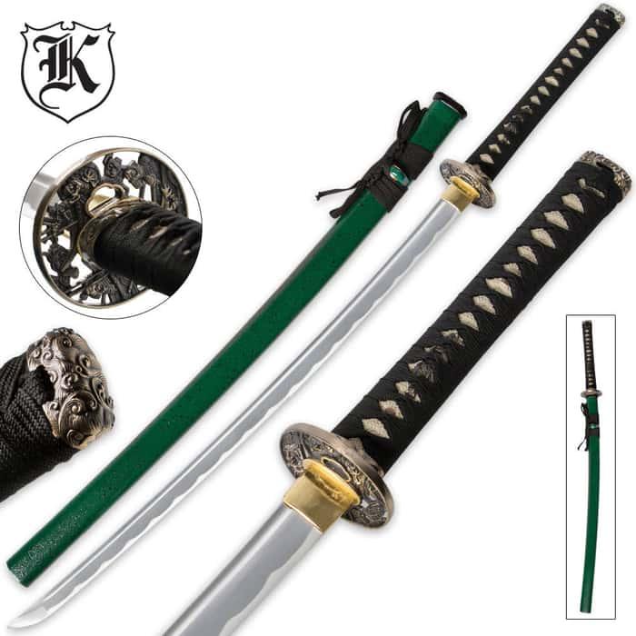 Dueling Dragon Samurai Katana Sword Carbon Steel Emerald Green With Scabbard