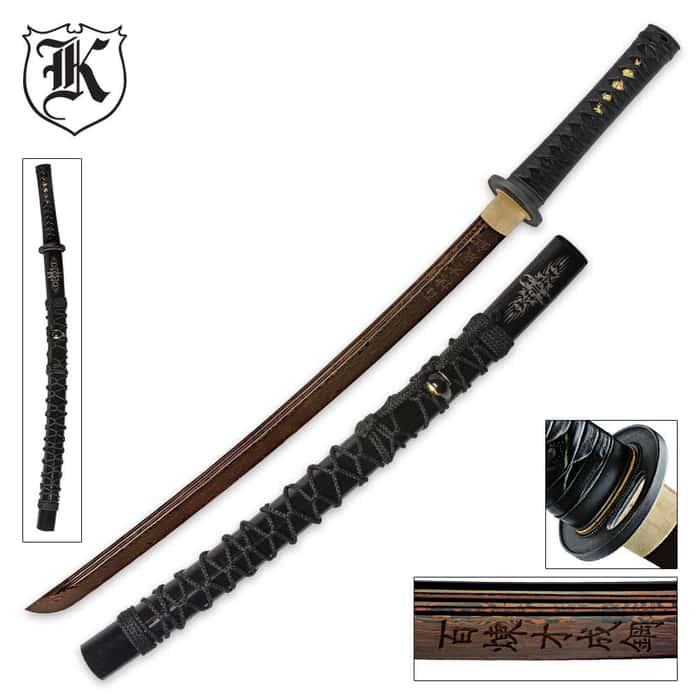 Dragon Stalker Wakizashi Sword Rich Black Damascus Steel Blade