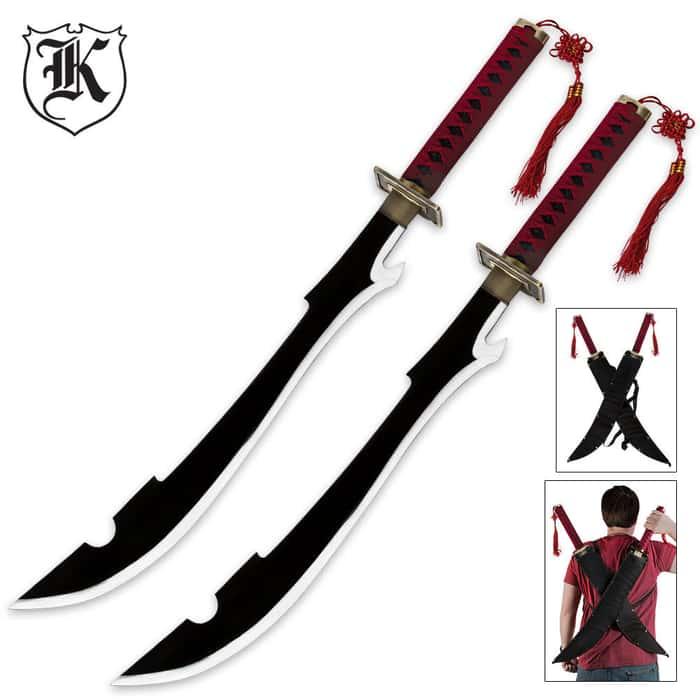 Kyouraka Shunsui Two Piece Anime Sword Set With Shoulder Sheaths