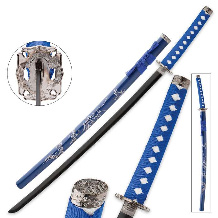 Blue Flying Dragon Sword With Engraved Scabbard